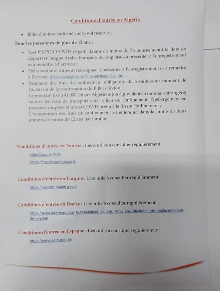 Air Algérie Condition Entrée Ouverture des Frontières