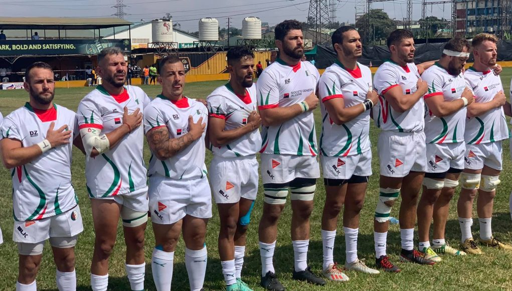 l'équipe algérienne de rugby pendant l'hymne national