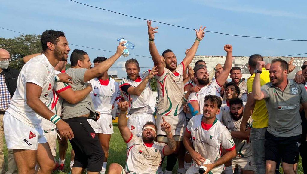 La sélection algérienne de rugby fête sa victoire face à l'Ouganda (22-16)